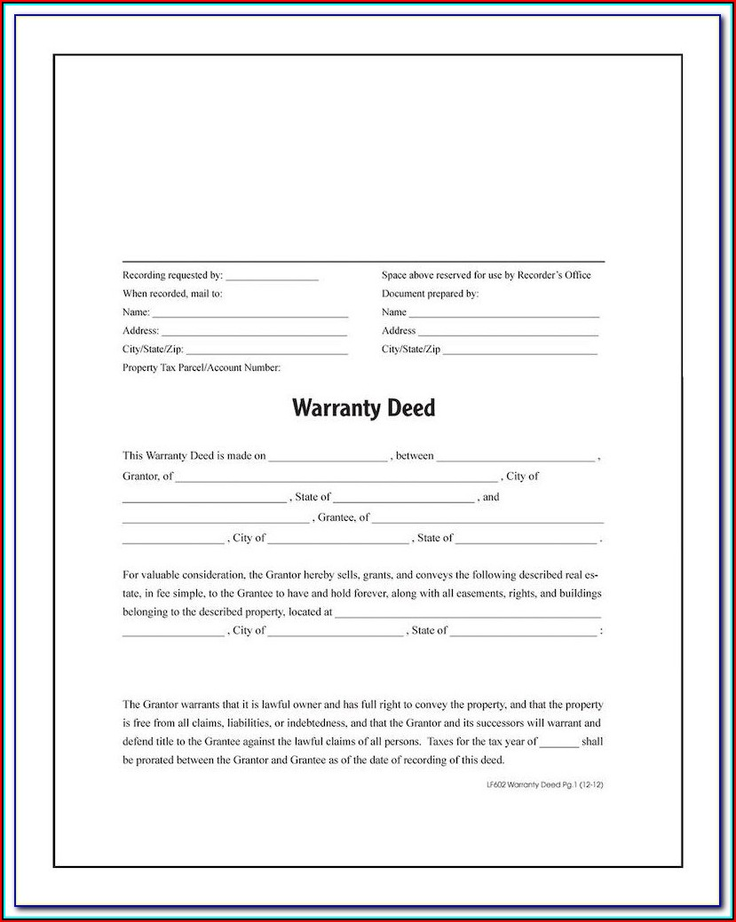 Blank Warranty Deed Form Michigan