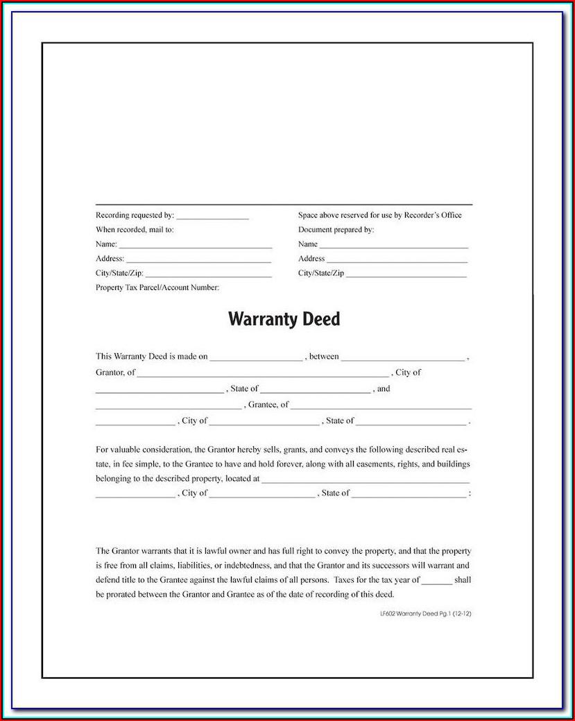 Blank Warranty Deed Form Michigan