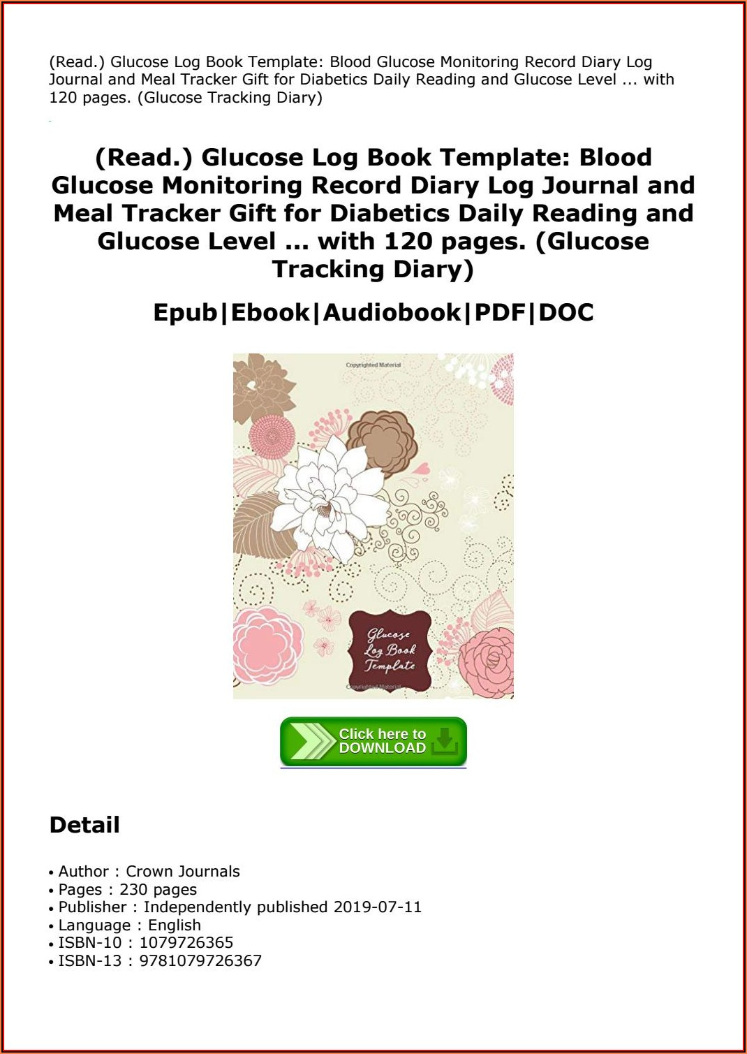 Blood Glucose Log Book Template