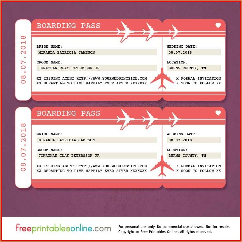 Boarding Pass Birthday Invitation Template Free Download