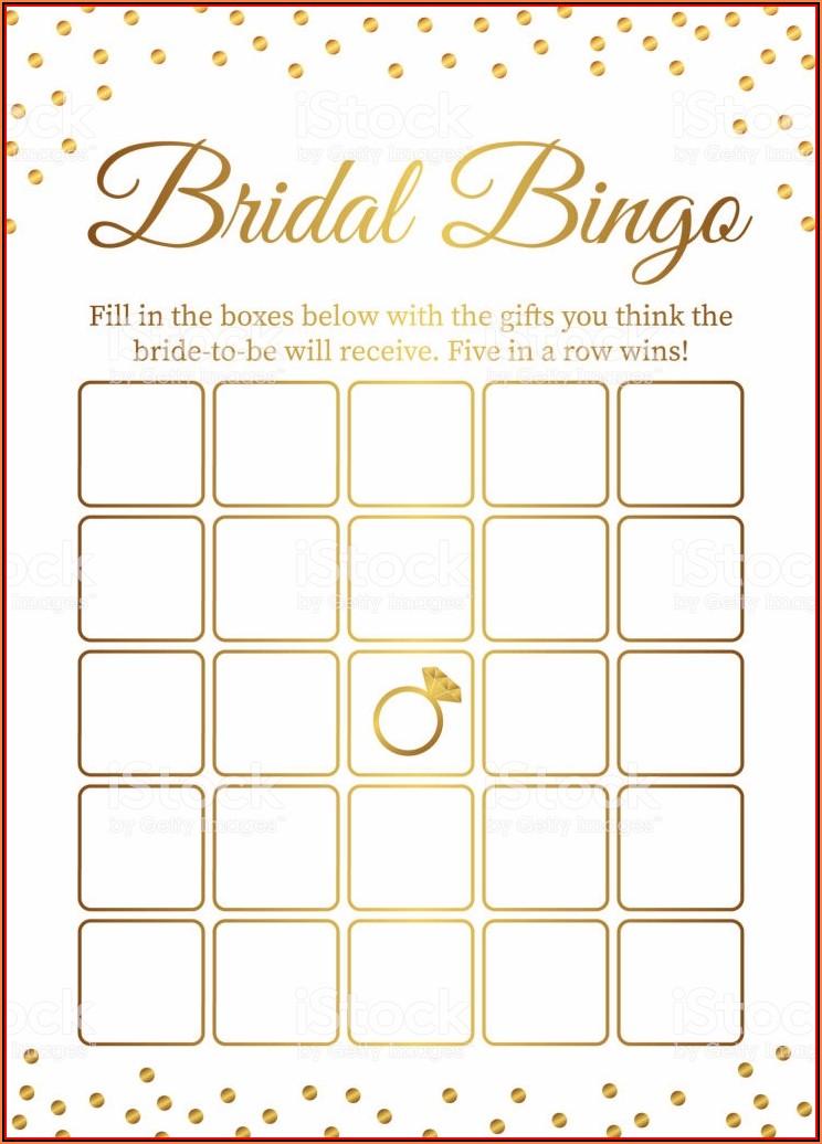 Bridal Bingo Template Blank