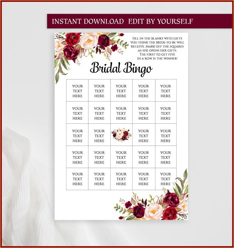 Bridal Bingo Template Pdf