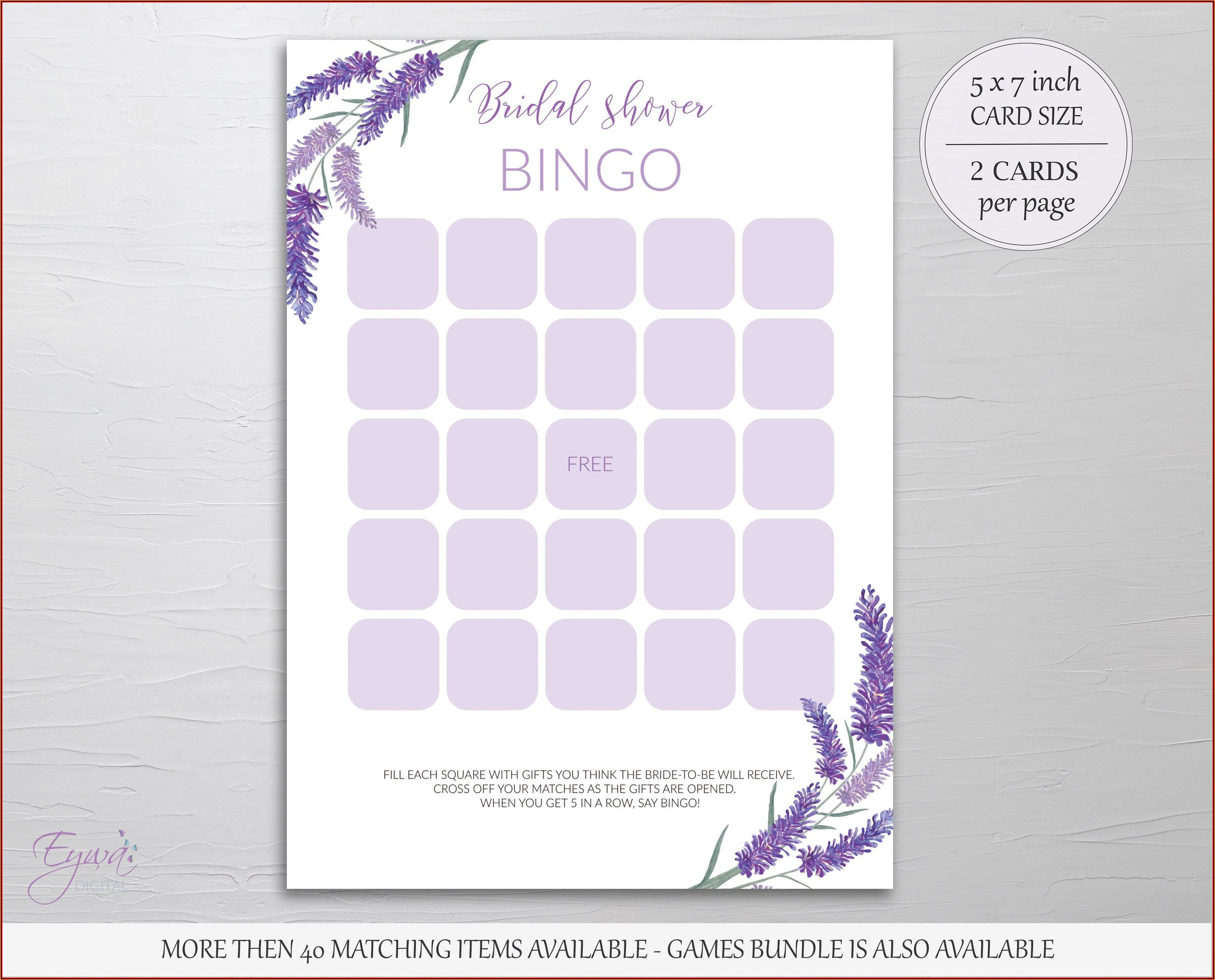 Bridal Shower Bingo Cards Printable Free
