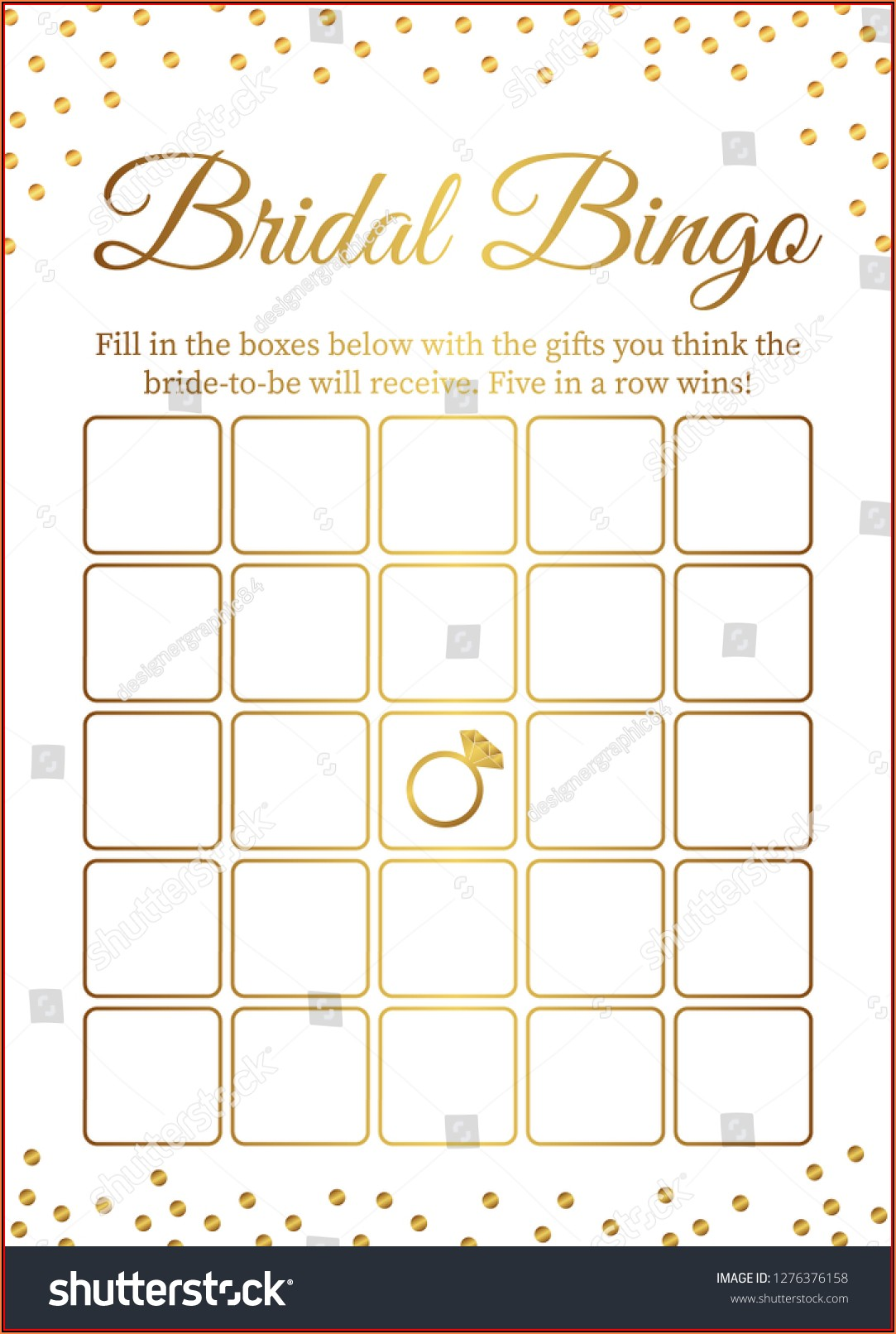 Bridal Shower Bingo Template Free