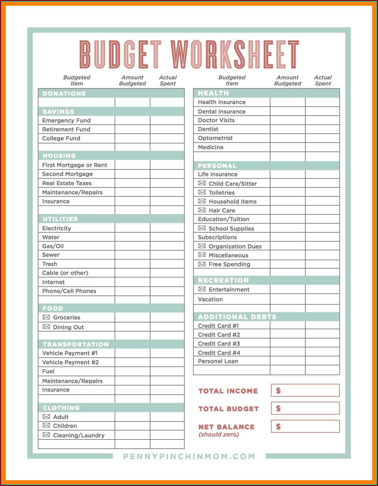 Budget Spreadsheet Free Printable