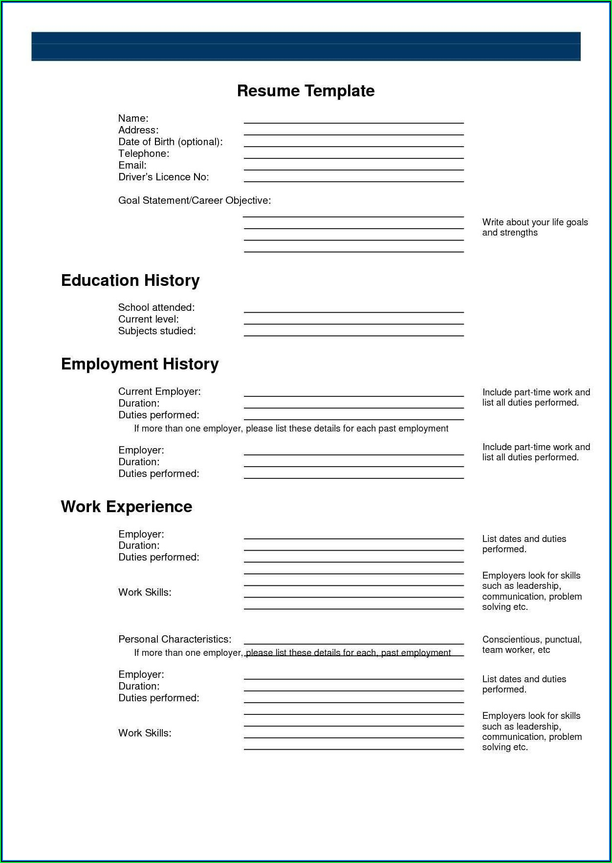 Build A Free Printable Resume Online