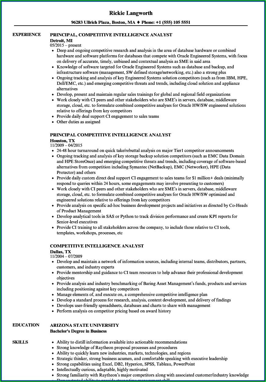 Business Intelligence And Analytics Sample Resume