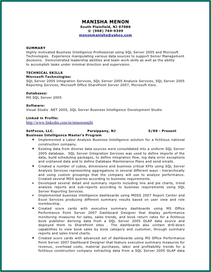 Business Intelligence Data Warehousing Sample Resume