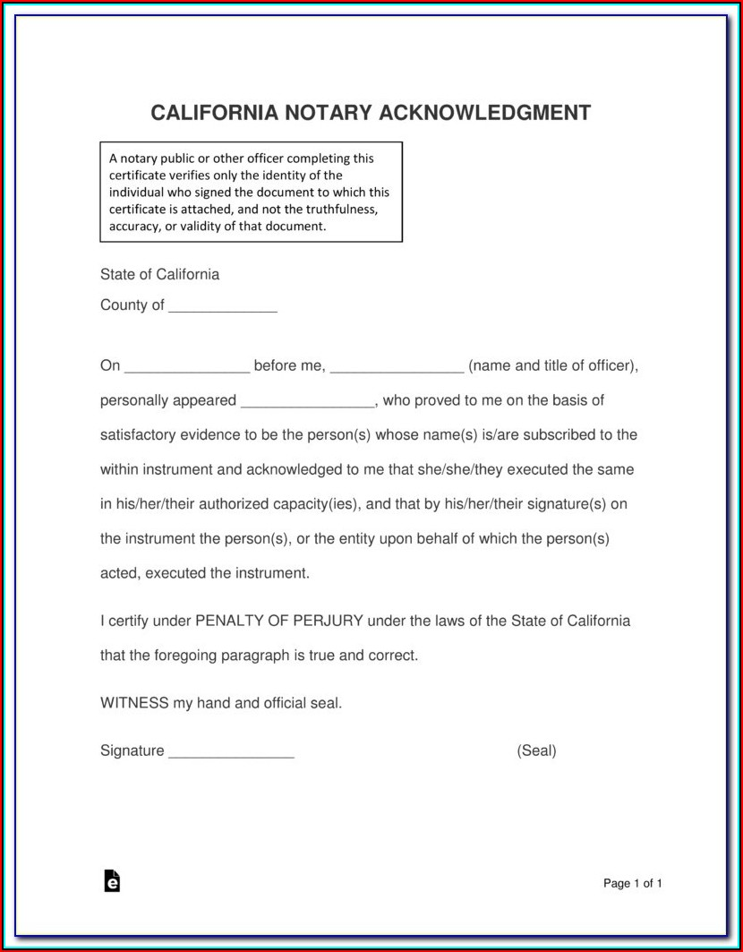 California Notary Certificate