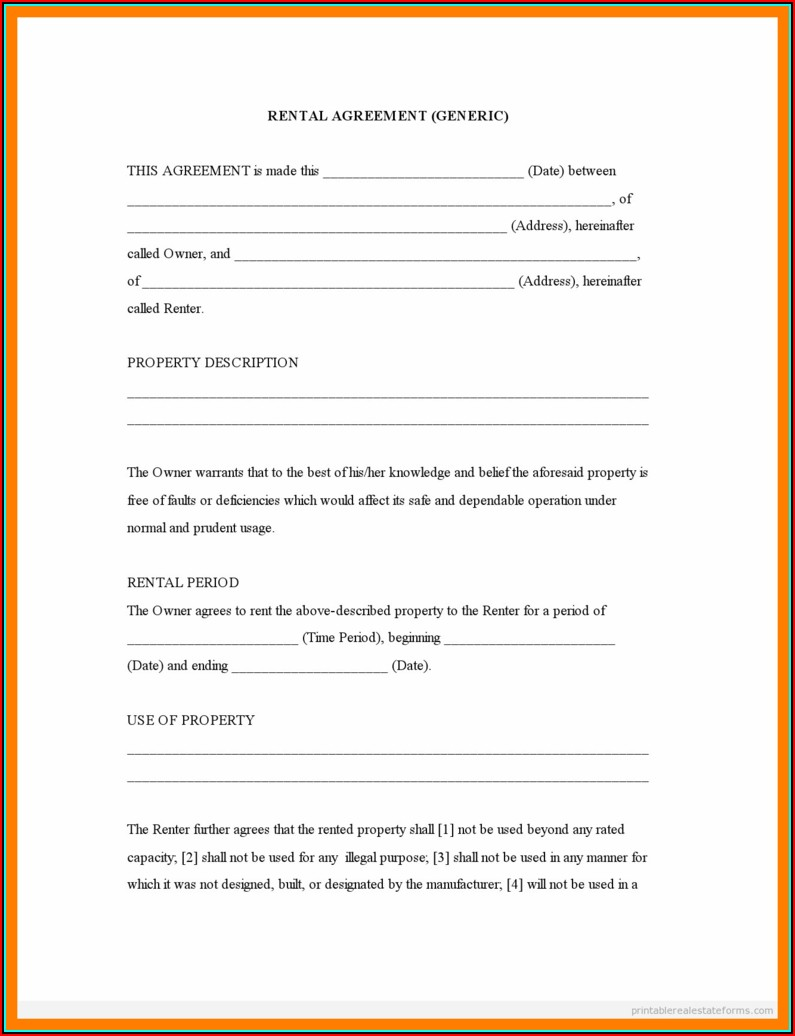 California Rental Agreement Form Pdf