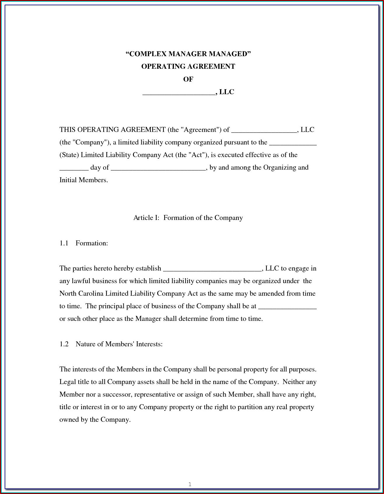 California Short Form Llc Operating Agreement