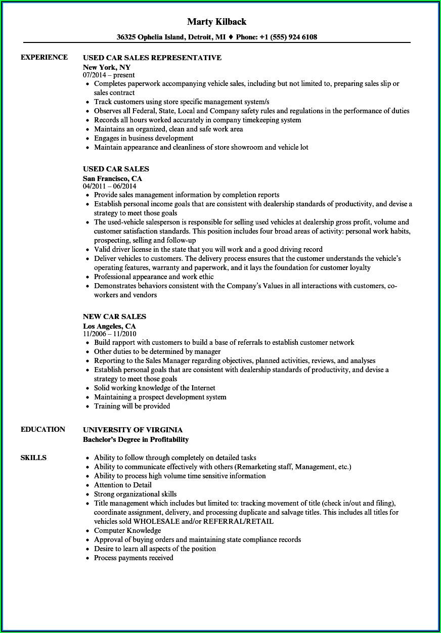 Car Sales Executive Cv Template