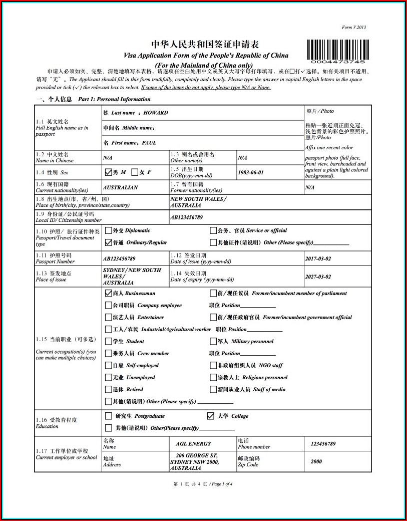 Chinese Embassy Visa Application Form Philippines