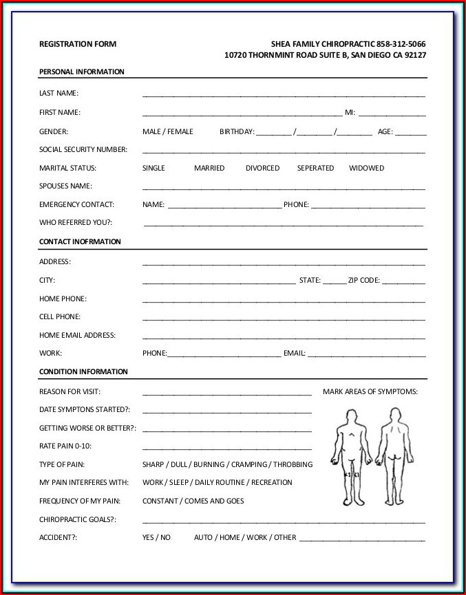 Chiropractic New Patient Forms Pdf