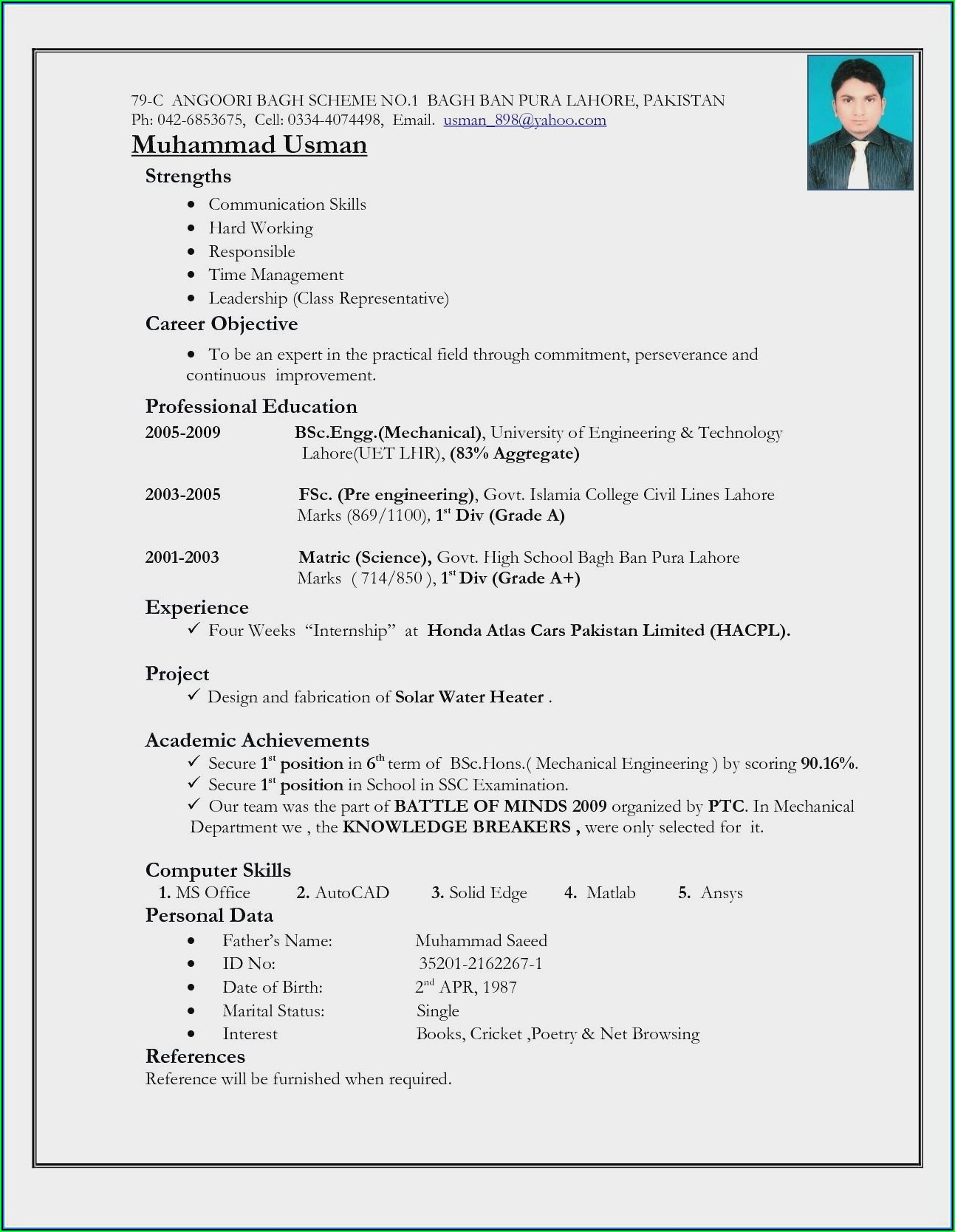 Civil Engineer Fresher Resume Format Doc Free Download