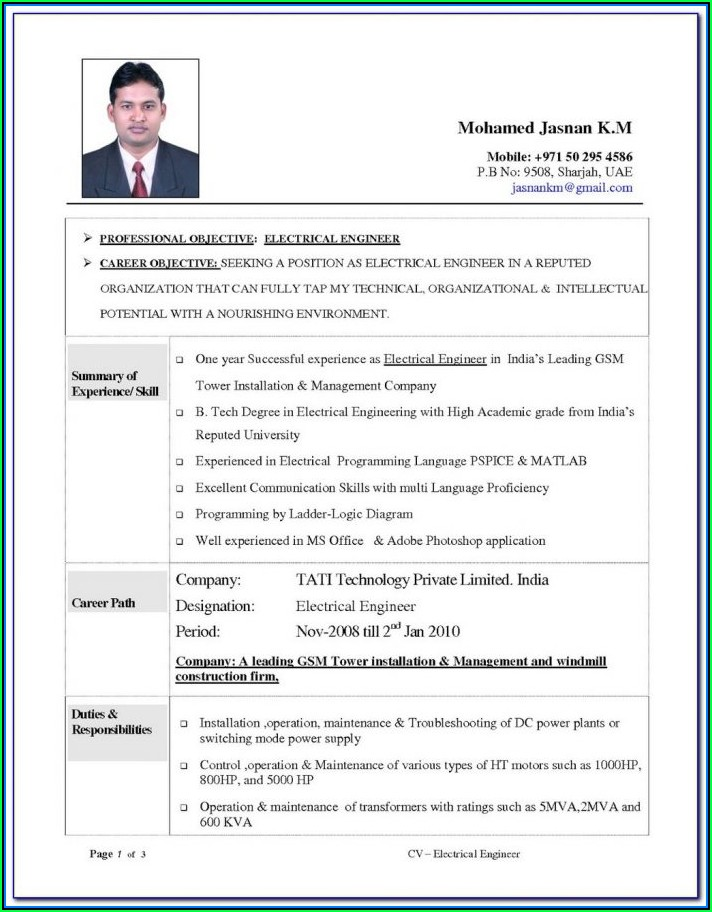 Civil Engineer Resume Format Doc Free Download