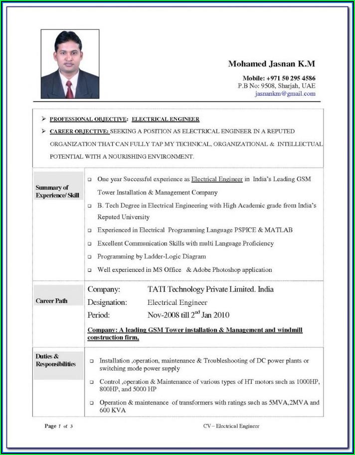Civil Engineer Resume Format Doc Free Download
