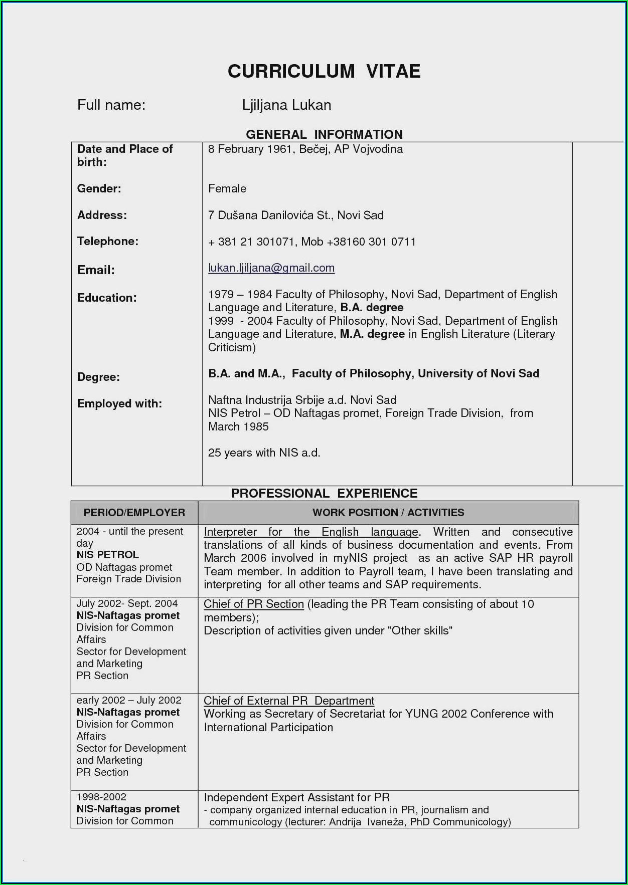 Civil Engineer Resume Format Free Download