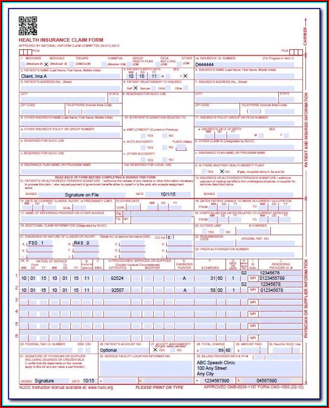 Cms 1500 Form Instructions 2018