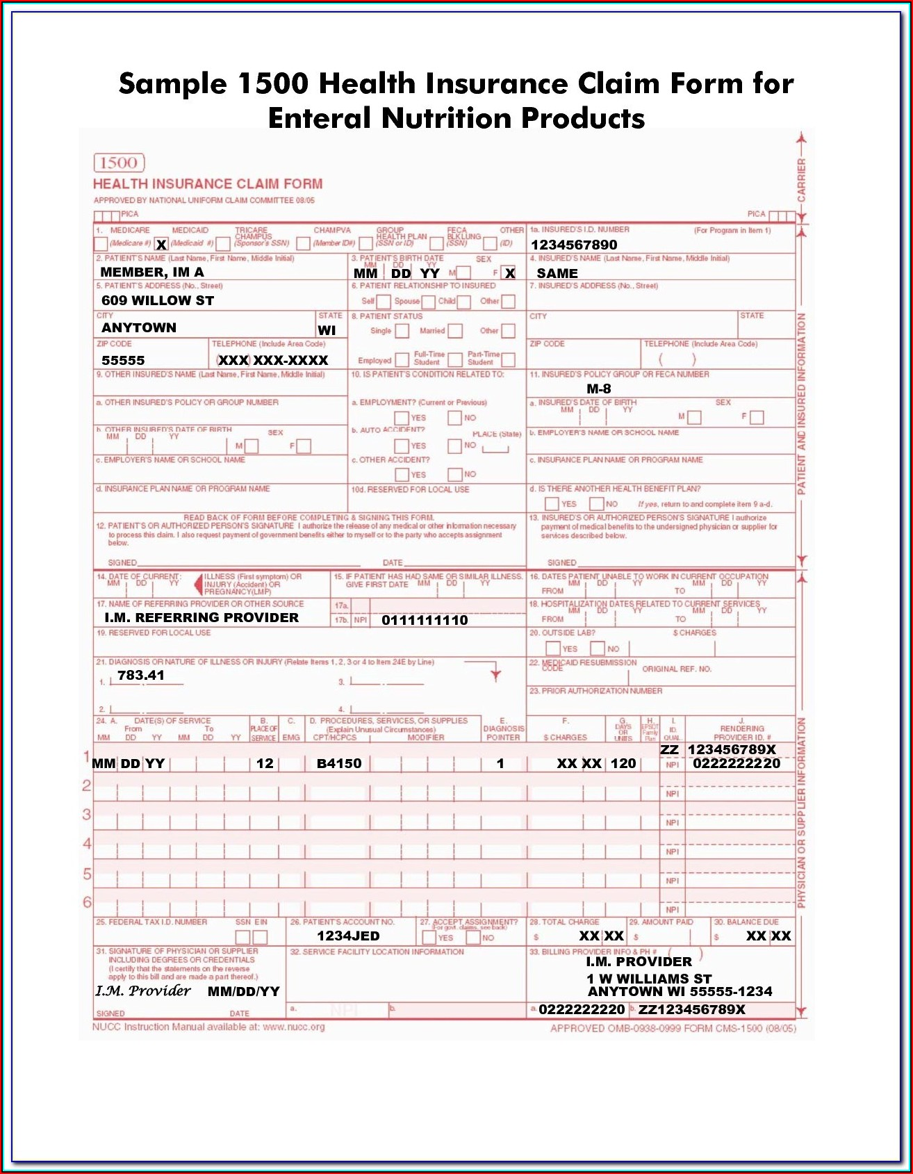 Cms 1500 Form Instructions 2019