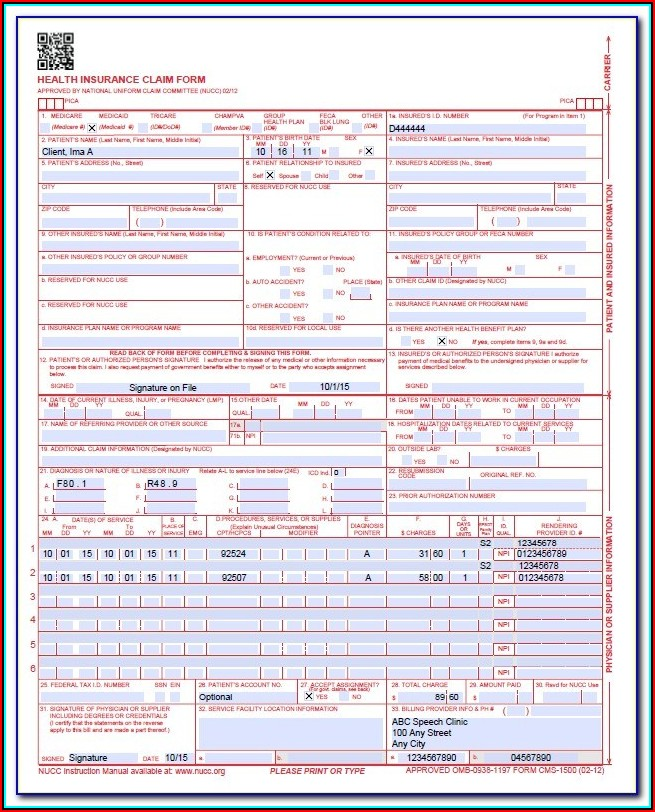 Cms Claim Form 1500 Instructions