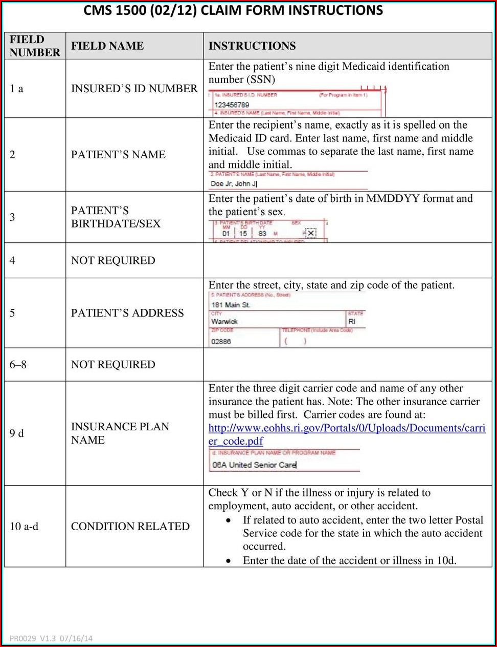 Cms Form 1500 Instructions