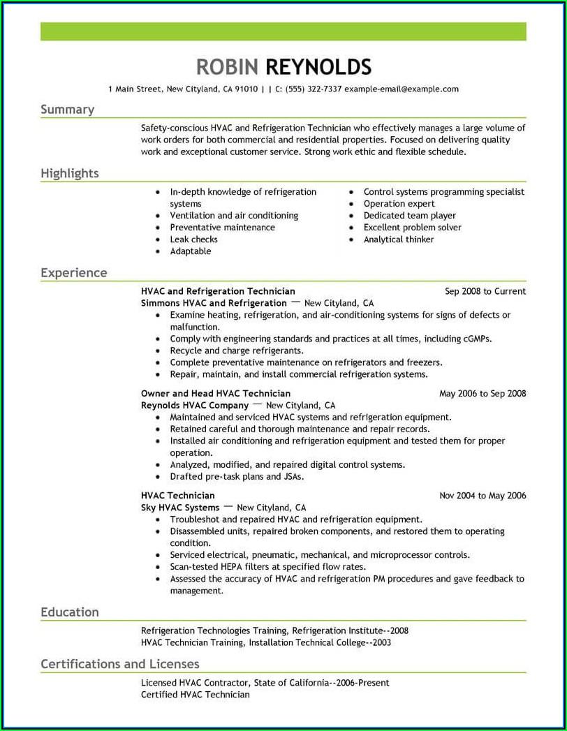 Commercial Hvac Installer Resume