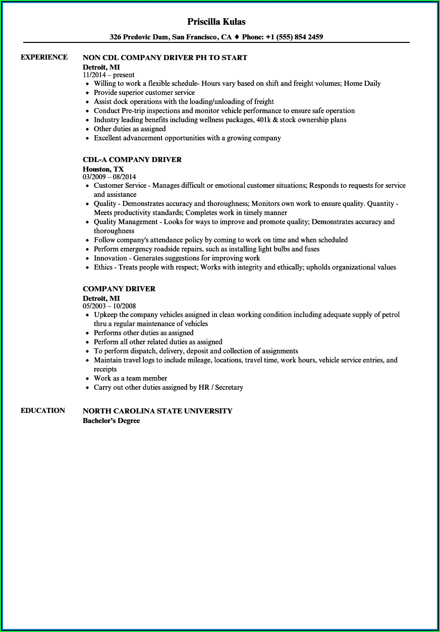 Company Car Driver Resume