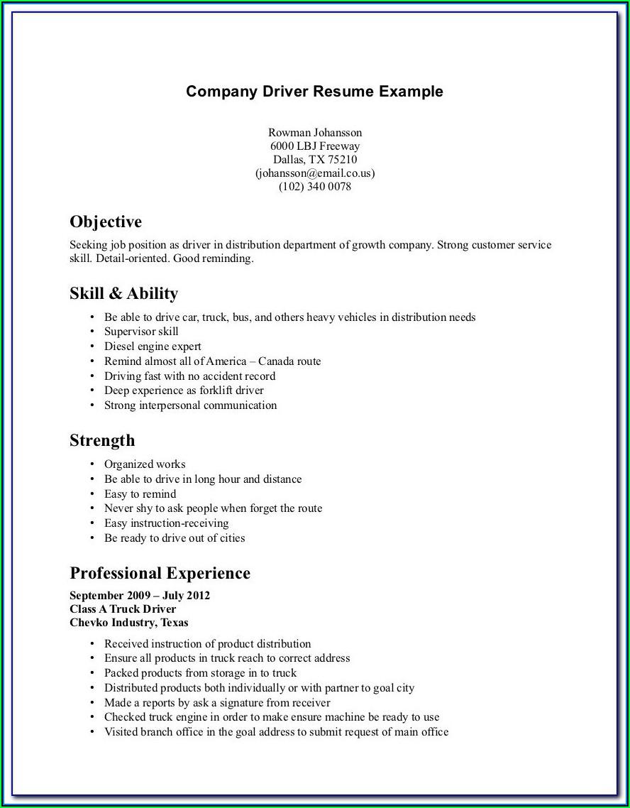 Company Driver Job Description Resume