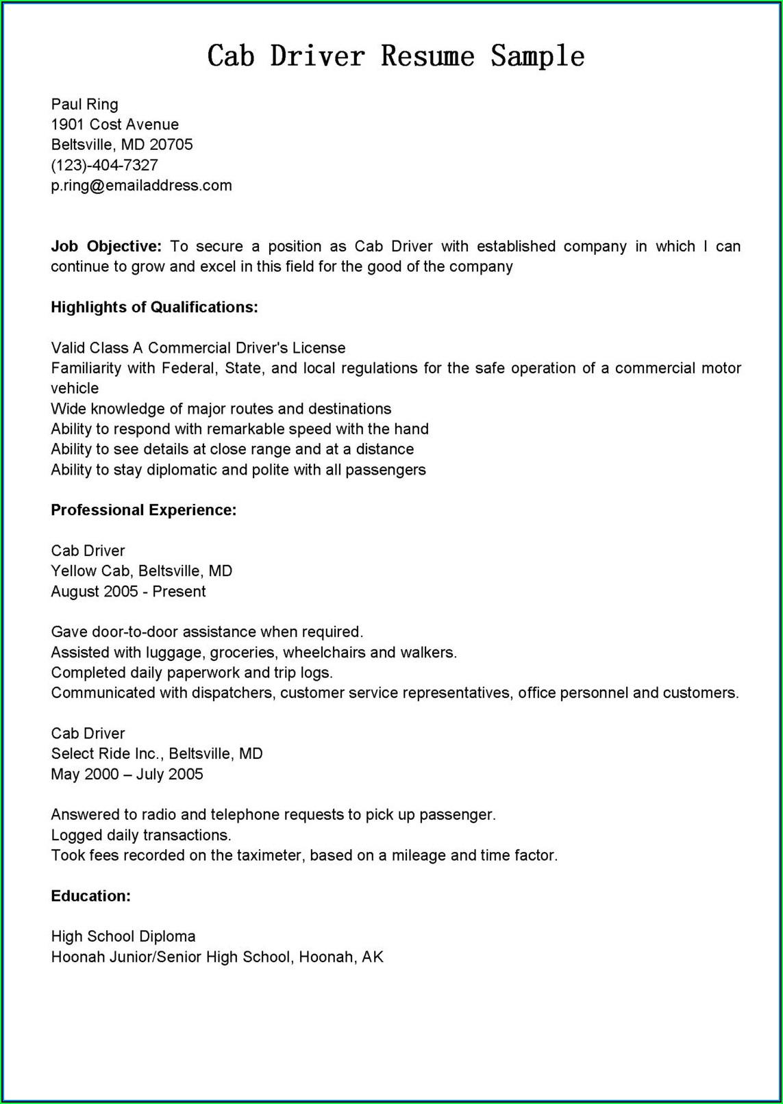 Company Driver Resume Sample Doc