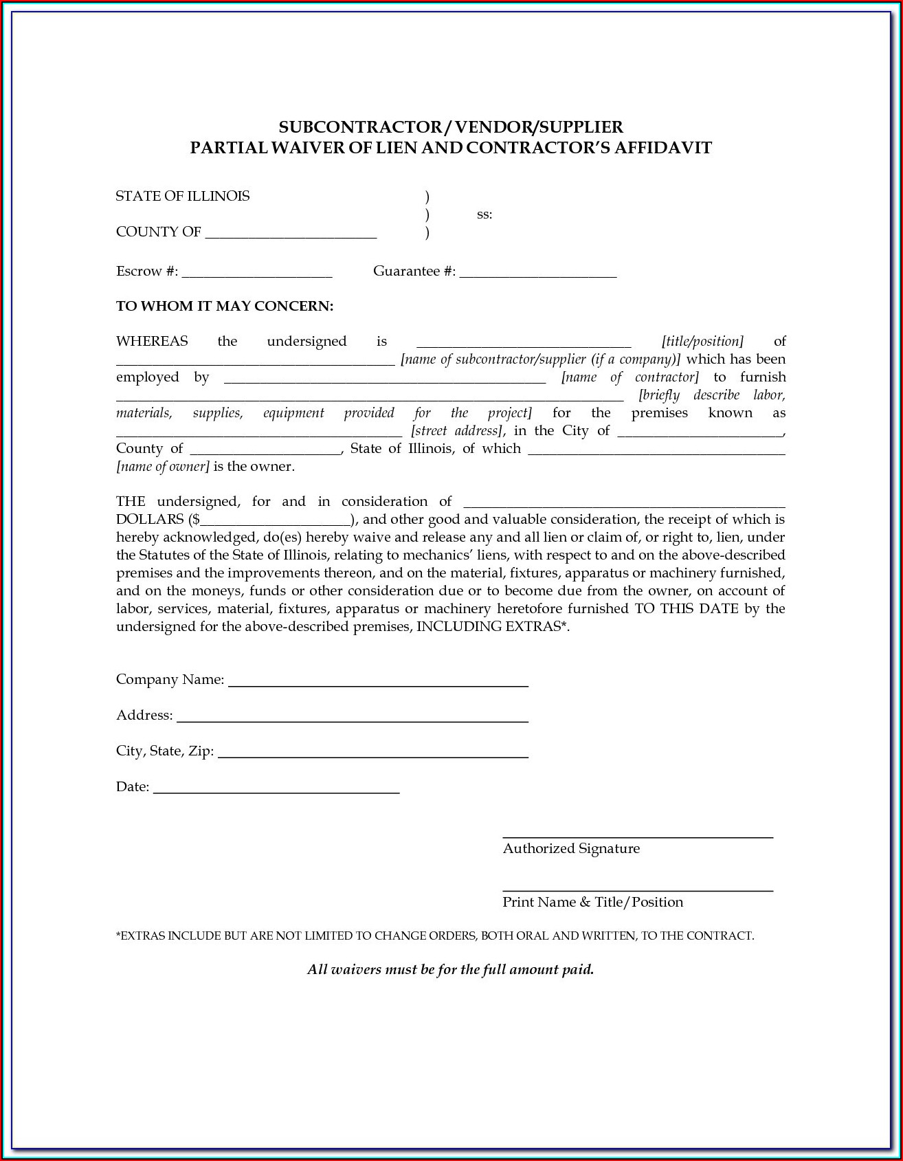 Construction Lien Release Form Florida