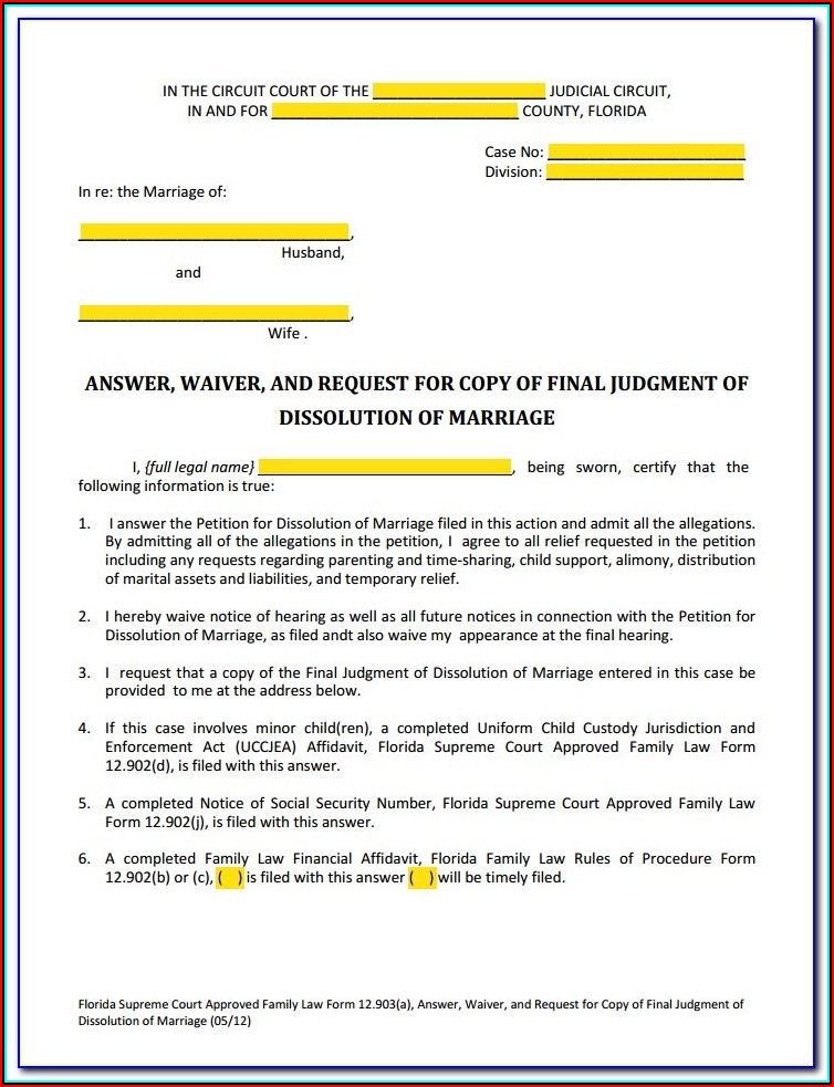 Contested Divorce Forms In Florida