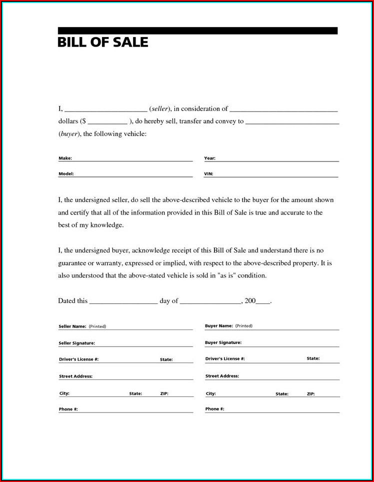 Contract For Sale Of Used Car Template