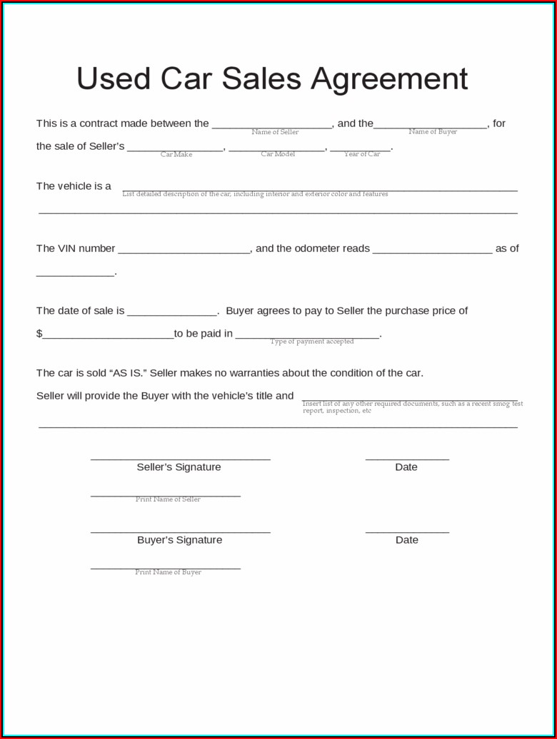 Contract Form For Sale Of Used Car
