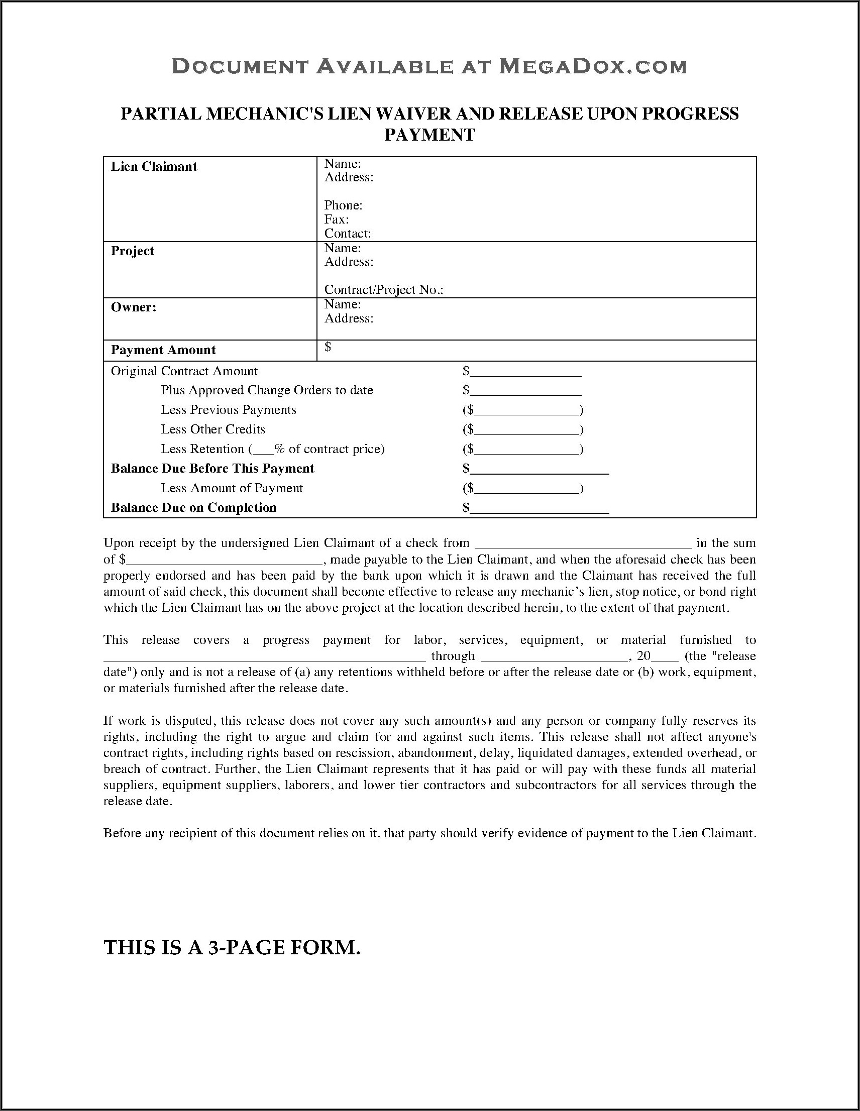 Contractor Lien Release Form Oklahoma