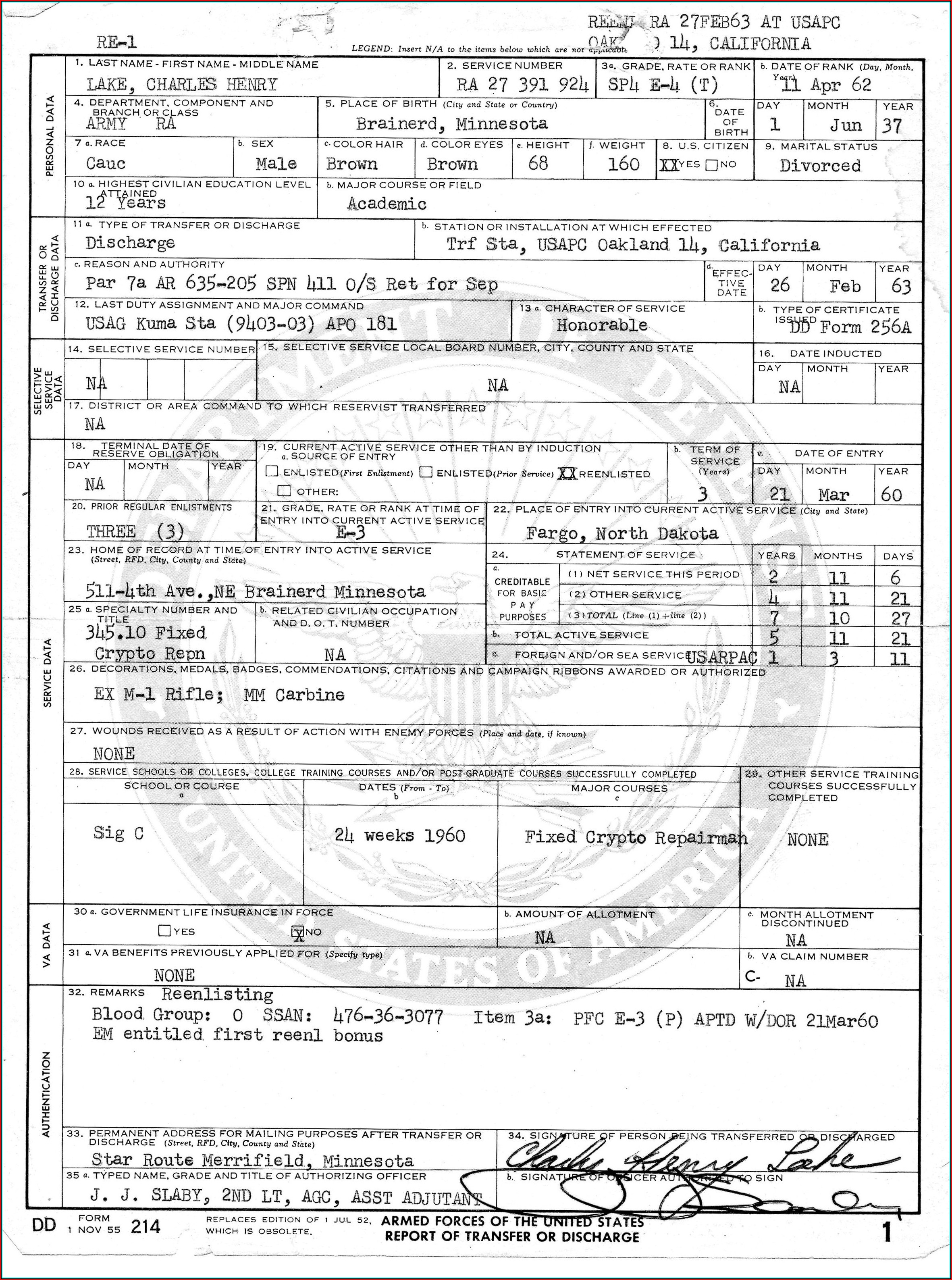 Copy Of Military Form Dd 214