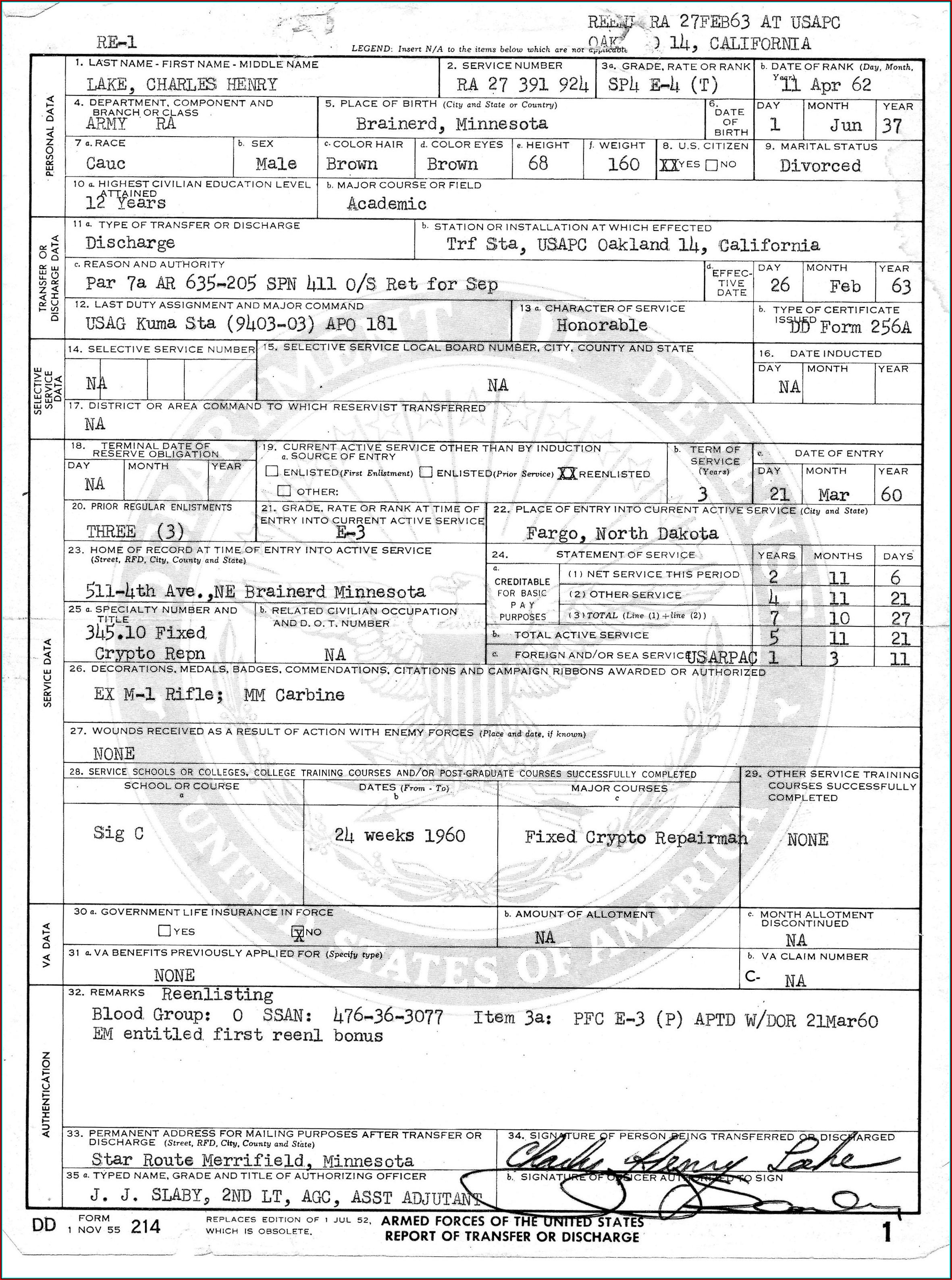 Copy Of Military Form Dd 214