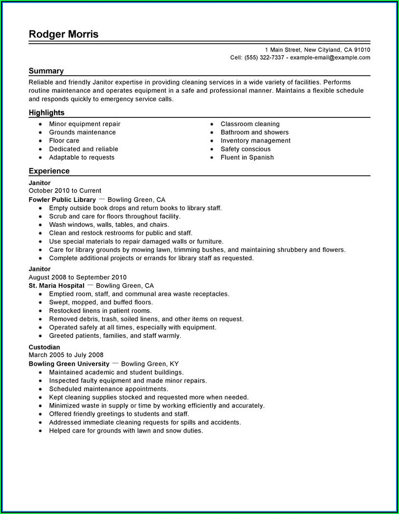 Cover Letter Samples For Resume Janitor