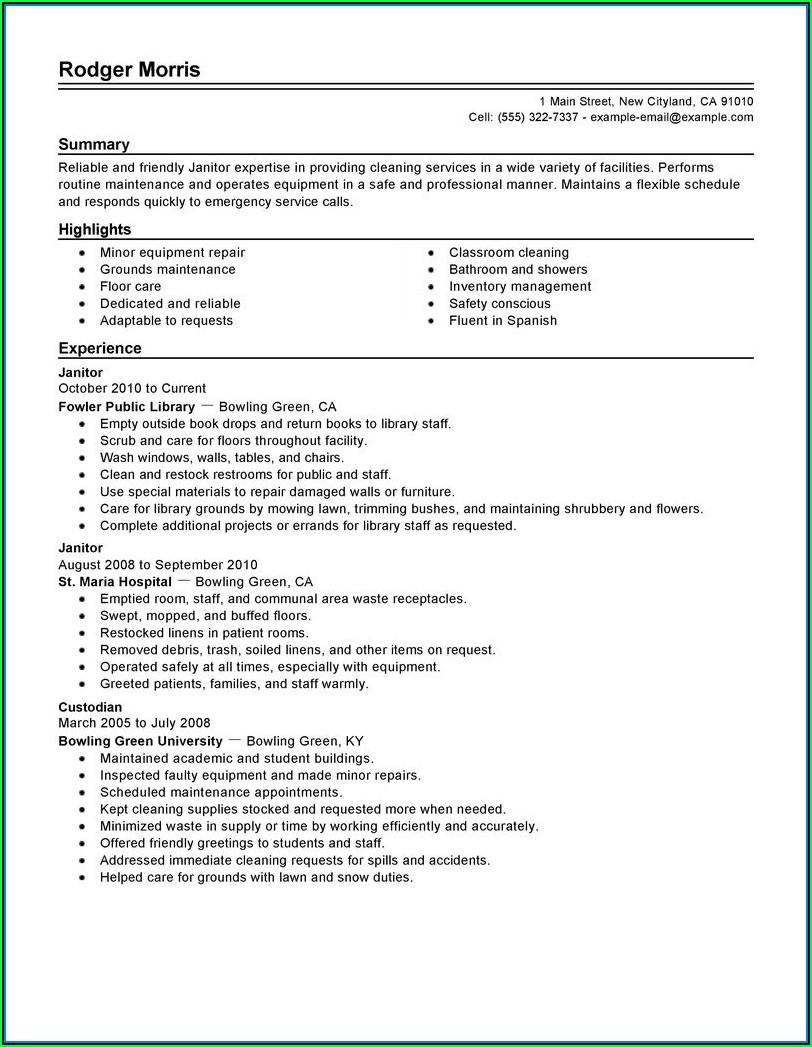 Cover Letter Samples For Resume Janitor
