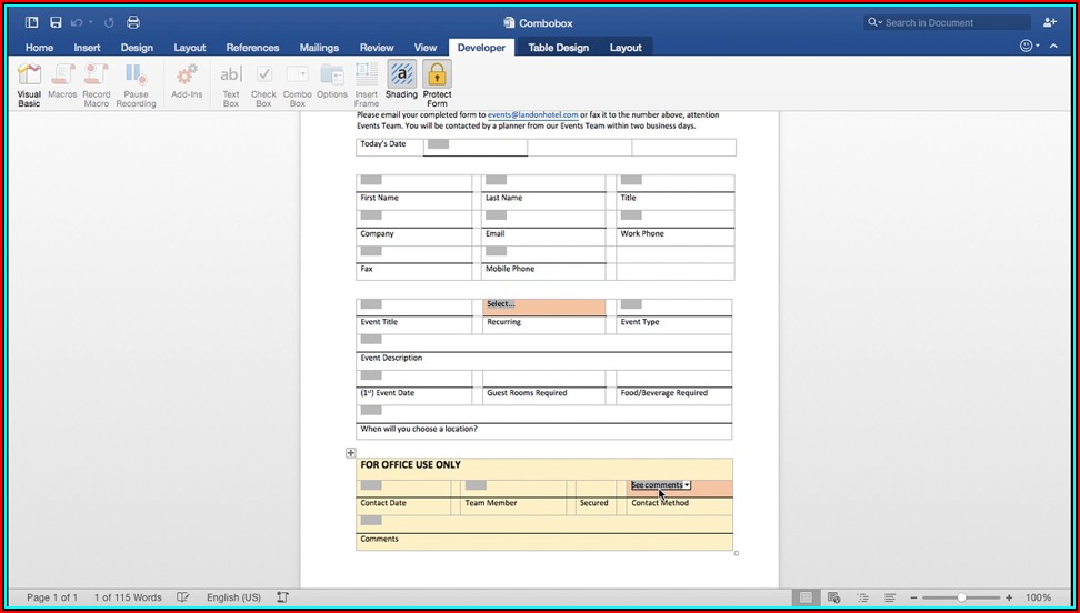 Creating Fillable Forms In Word 2016