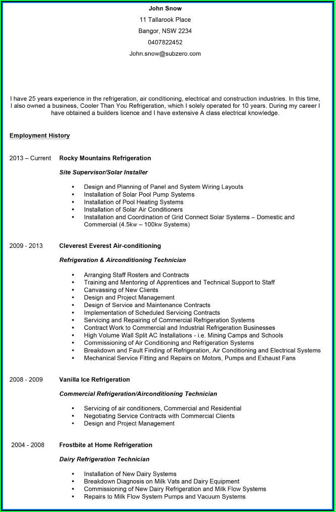 Current Resume Templates Australia