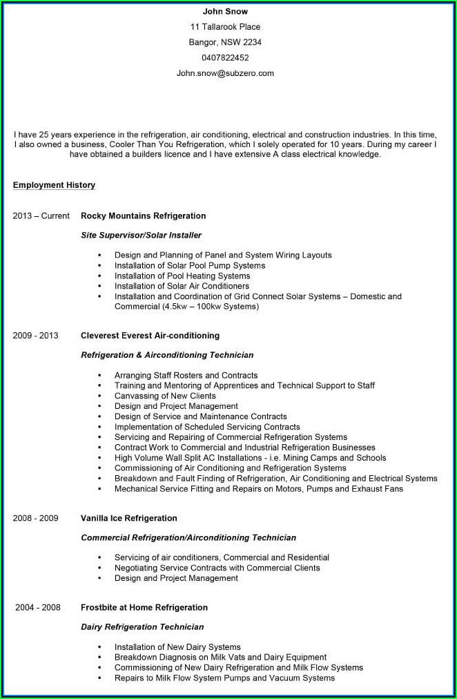 Current Resume Templates Australia