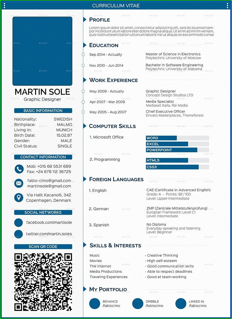 Curriculum Vitae (cv) Templates Download