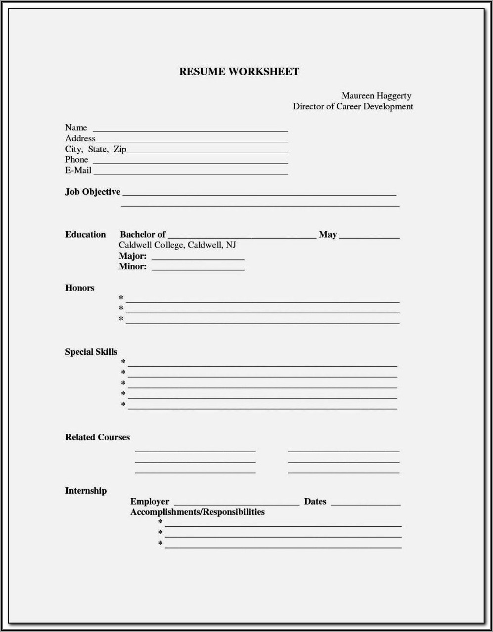 Curriculum Vitae Fill In The Blanks