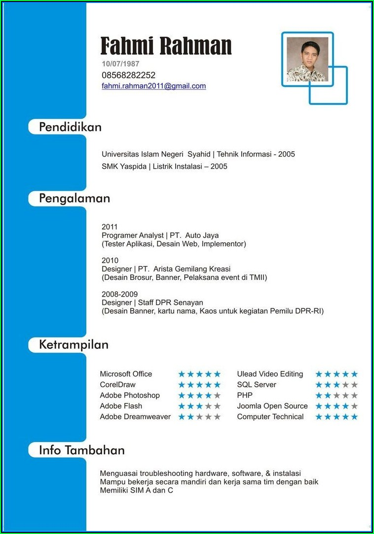 Curriculum Vitae Format Free Download In Ms Word