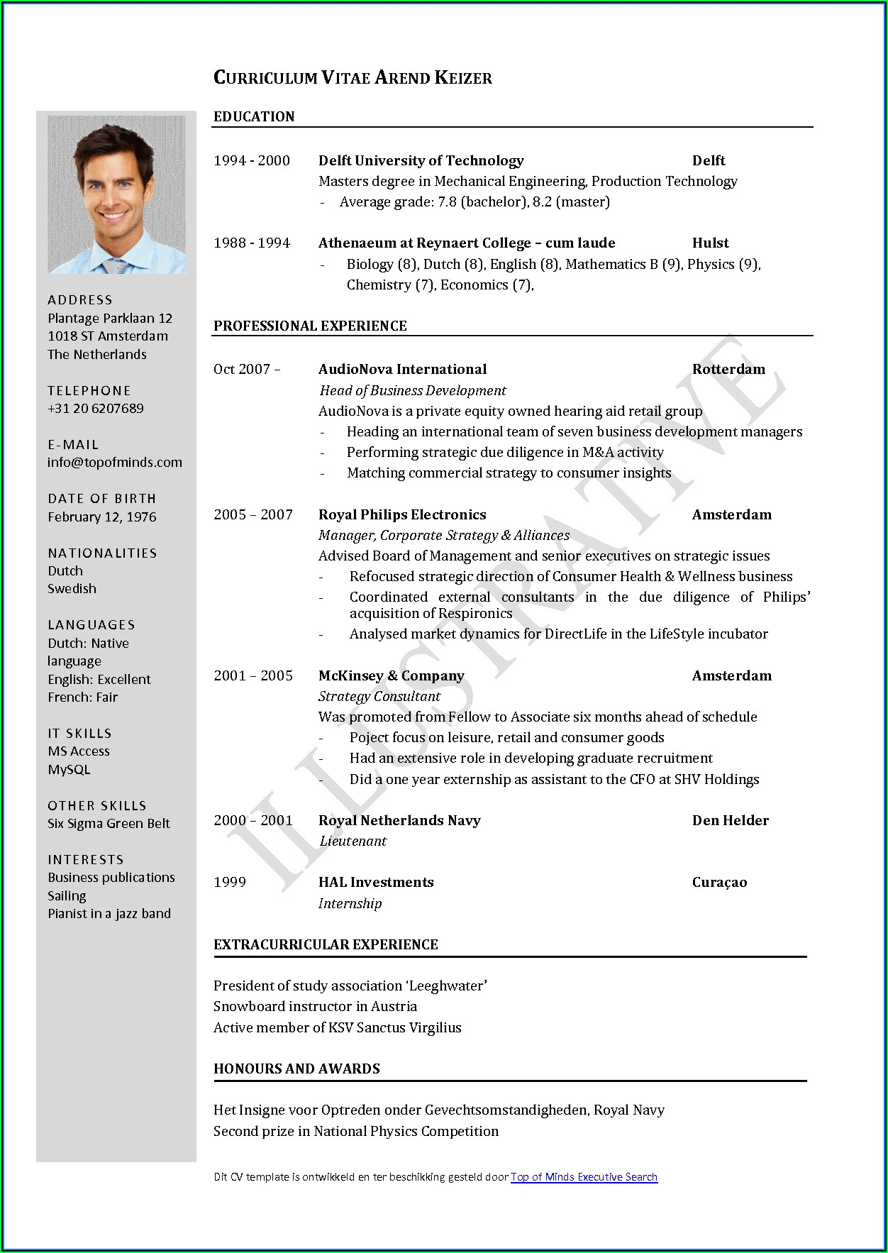 Curriculum Vitae Format Template Download
