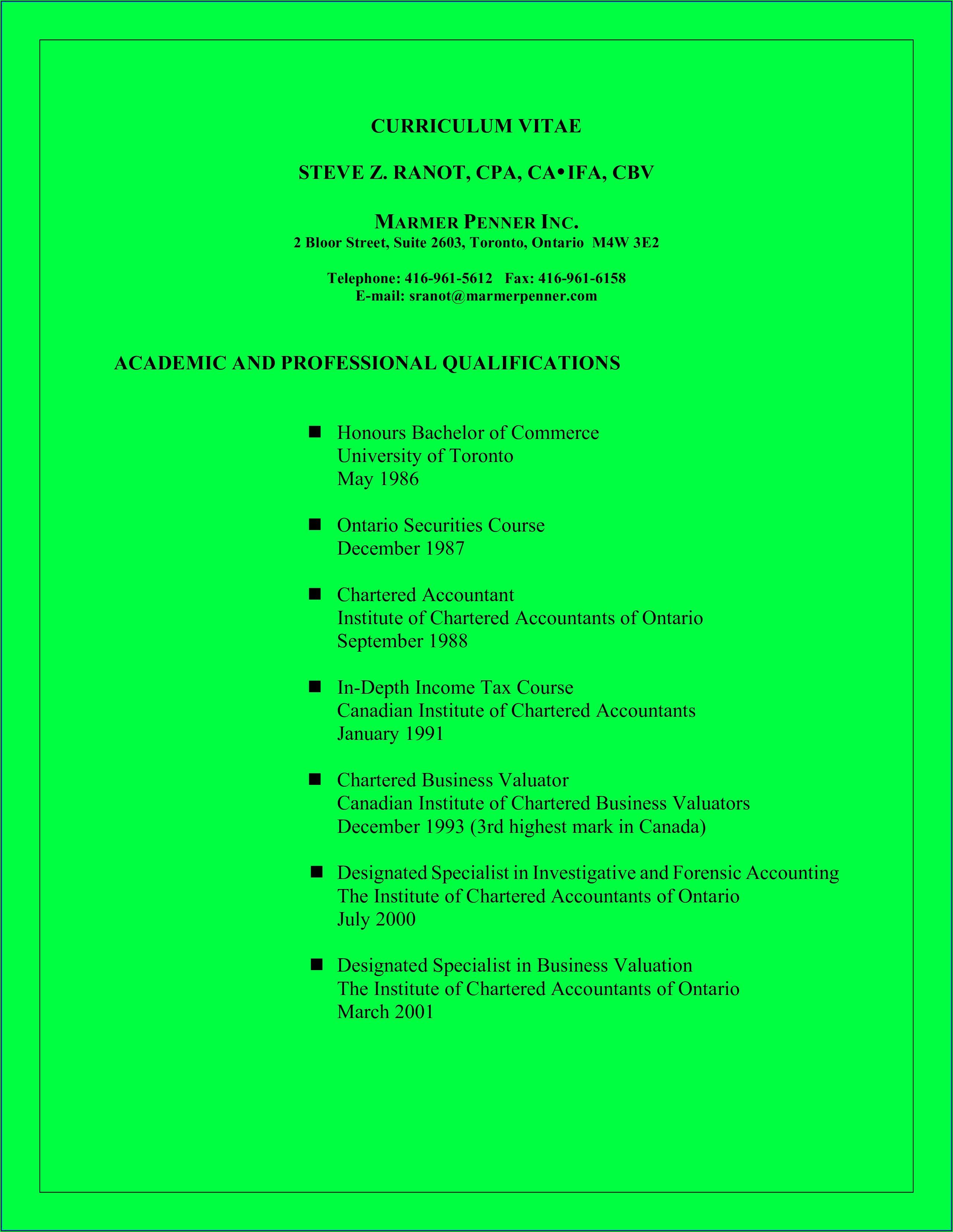 Curriculum Vitae Samples For Accountants