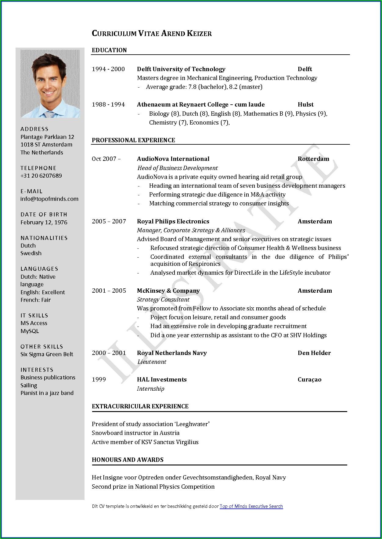 Cv Resume Format Free Download