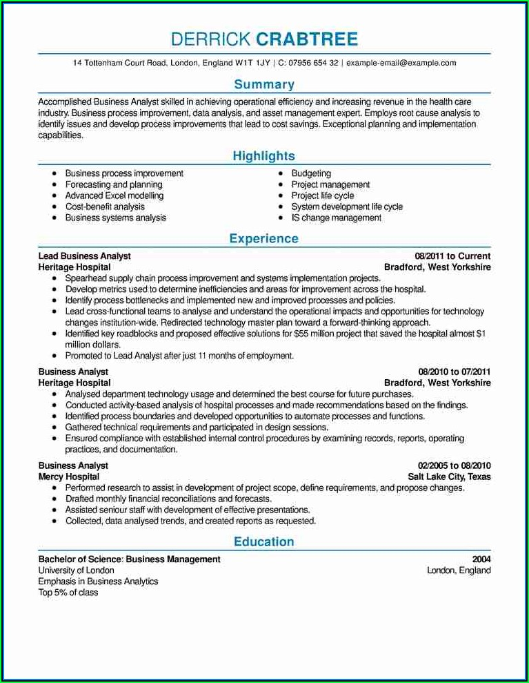 Cv Samples For Professionals