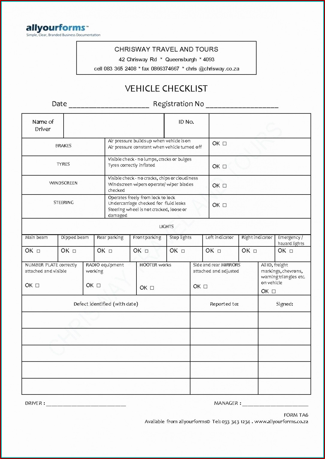 Daily Vehicle Inspection Report Template